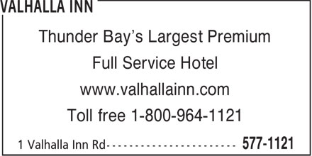 Valhalla Inn (807-577-1121) - Display Ad