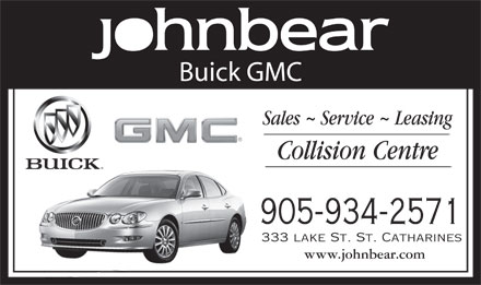 John Bear Buick GMC (905-934-2571) - Display Ad - Buick GMC 905-934-2571 333 lake St. St. Catharines www.johnbear.com  Buick GMC 905-934-2571 333 lake St. St. Catharines www.johnbear.com  Buick GMC 905-934-2571 333 lake St. St. Catharines www.johnbear.com