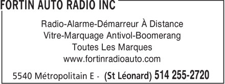 Fortin Auto Radio Inc (514-255-2720) - Display Ad