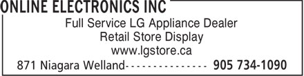 Online Electronics Inc (905-734-1090) - Annonce illustrée - Full Service LG Appliance Dealer Retail Store Display www.lgstore.ca