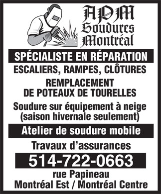 APM Soudures (514-722-0663) - Display Ad