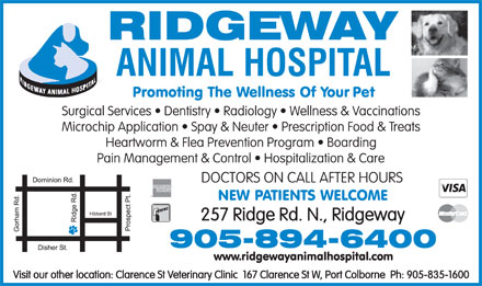 Ridgeway Animal Hospital (905-894-6400) - Display Ad - DOCTORS ON CALL AFTER HOURS DOCTORS ON CALL AFTER HOURS