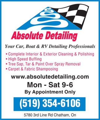 Absolute Detailing (519-354-6106) - Annonce illustr&eacute;e