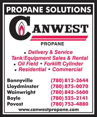 Canwest Propane (780-812-2644) - Annonce illustr&eacute;e