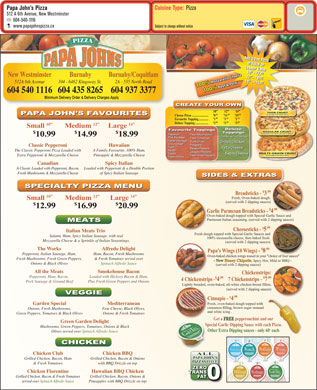 Papa John's Pizza (604-540-1116) - Menu