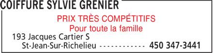 Coiffure Sylvie Grenier (450-347-3441) - Annonce illustrée======= - PRIX TRÈS COMPÉTITIFS - Pour toute la famille