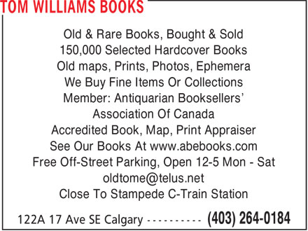 Tom Williams Books (403-264-0184) - Annonce illustrée