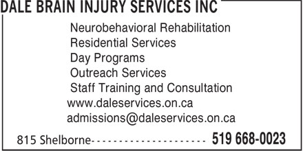 Dale Brain Injury Services Inc (519-668-0023) - Display Ad