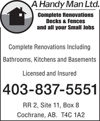 A Handy Man Ltd (403-837-5551) - Display Ad