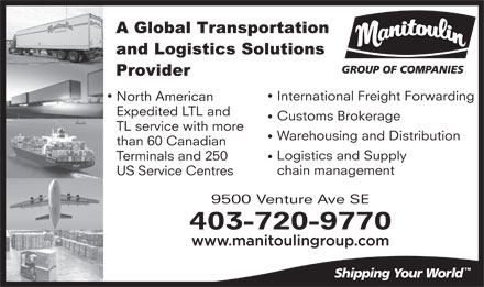 Manitoulin Group Of Companies (403-720-9770) - Display Ad