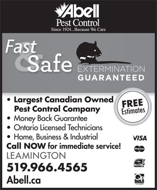 Abell Pest Control (519-966-4565) - Display Ad