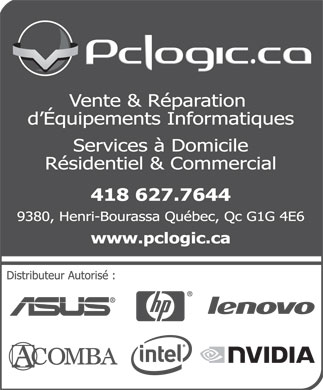 PcLogic.ca Inc (418-627-7644) - Display Ad