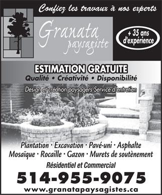 Granata paysagiste 67 boul de fontainebleau blainville qc - Paysagiste fontainebleau ...