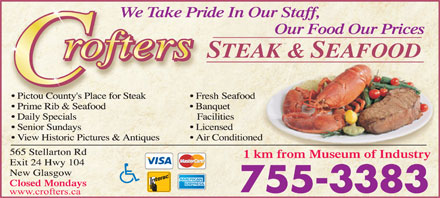Crofters Steak & Seafood (902-755-3383) - Display Ad