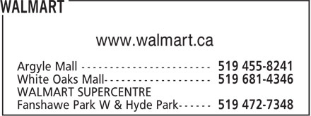 Walmart (519-455-8241) - Display Ad - www.walmart.ca