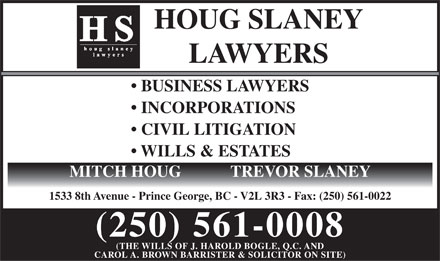 Houg Slaney (250-561-0008) - Display Ad
