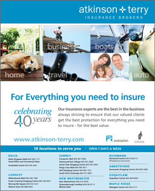Atkinson &amp; Terry Insurance Brokers (604-596-1717) - Display Ad