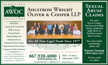 Ahlstrom Wright Oliver & Cooper (867-920-4000) - Display Ad