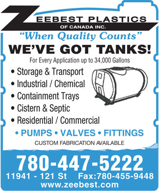 Zeebest Plastics Of Canada Inc (780-447-5222) - Display Ad