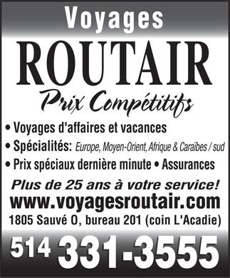 Voyages Routair (514-331-3555) - Display Ad