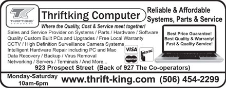 Thriftking Computer (506-454-2299) - Display Ad