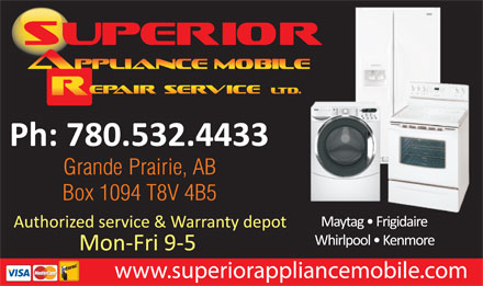 Superior Appliance Mobile Repair Service Ltd (780-532-4433) - Display Ad