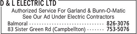 D & L Electric Ltd (506-753-5076) - Annonce illustrée - Authorized Service For Garland & Bunn-O-Matic See Our Ad Under Electric Contractors