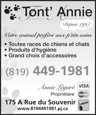 Tont' Annie (819-449-1981) - Display Ad