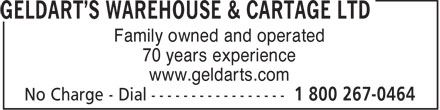 Geldarts Warehouse (1-866-273-3309) - Display Ad - Family owned and operated 70 years experience www.geldarts.com
