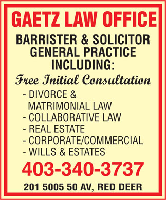 Gaetz Law Office (403-340-3737) - Annonce illustr&eacute;e
