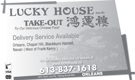 Lucky House Take-Out (613-837-1618) - Display Ad