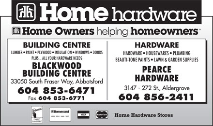 Home Hardware Stores (604-853-6471) - Display Ad