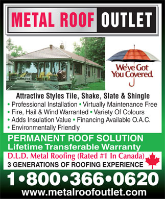 Metal Roof Outlet Inc (1-800-366-0620) - Annonce illustrée