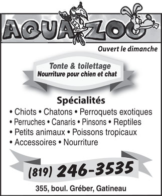 Animalerie Aqua-Zoo (819-246-3535) - Annonce illustr&eacute;e - Ouvert le dimanche Tonte &amp; toilettage Nourriture pour chien et chat Sp&eacute;cialit&eacute;sSp&eacute;cialit&eacute;s Chiots   Chatons   Perroquets exotiques Perruches   Canaris   Pinsons   Reptiles Petits animaux   Poissons tropicaux Accessoires   Nourriture 355, boul. Gr&eacute;ber, Gatineau