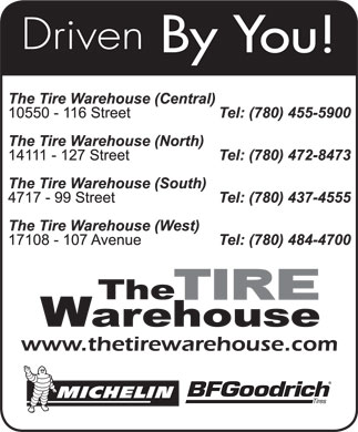 The Tire Warehouse (780-437-4555) - Annonce illustrée
