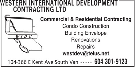 Western International Development Contracting Ltd (604-301-9123) - Annonce illustrée