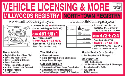 Millwoods registry svcs ltd 100 6203 28 ave nw edmonton ab for Alberta motor vehicle registration