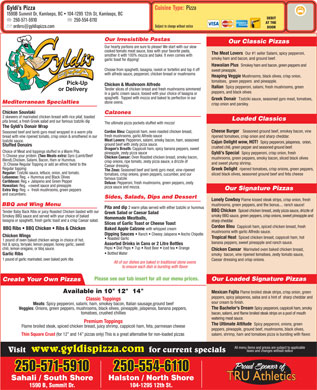 Gyldi's Pizza (250-372-2410) - Menu