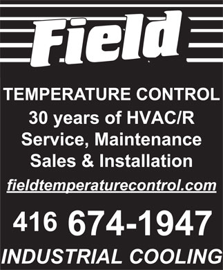 Field Temperature Control Ltd (416-674-1947) - Display Ad