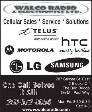 Walco Radio & Electronics Ltd (250-372-0054) - Display Ad