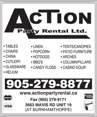 Action Party Rental Ltd (905-279-8877) - Display Ad