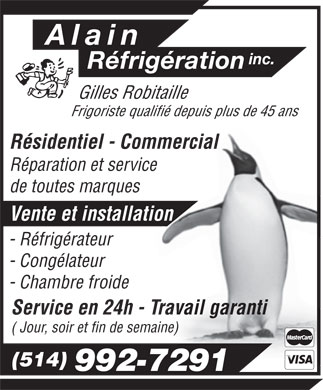 Alain Réfrigération Inc (514-992-7291) - Display Ad