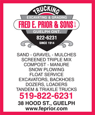 Fred E Prior &amp; Sons Ltd (519-822-6231) - Annonce illustr&eacute;e
