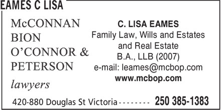 Lisa C Eames (250-385-1383) - Annonce illustrée======= - WILLS - FAMILY LAW - ESTATES - REAL ESTATE - LAWYERS