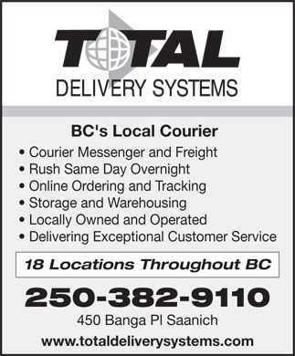 Total Delivery Systems Inc (250-382-9110) - Display Ad