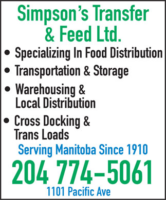 Simpson's Transfer &amp; Feed Ltd (204-774-5061) - Annonce illustr&eacute;e