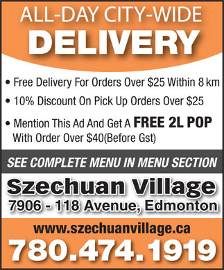 Szechuan Village (780-474-1919) - Annonce illustr&eacute;e