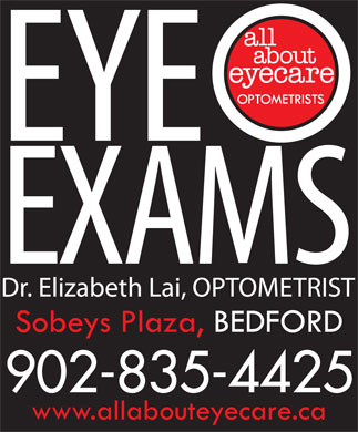 ALL ABOUT EYECARE OPTOMETRISTS - EYE EXAMS BEDFORD SOBEYS PLAZA (902-835-4425) - Annonce illustrée - 902-835-4425