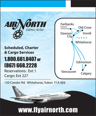 Air North/Yukon's Airline (1-800-661-0407) - Display Ad