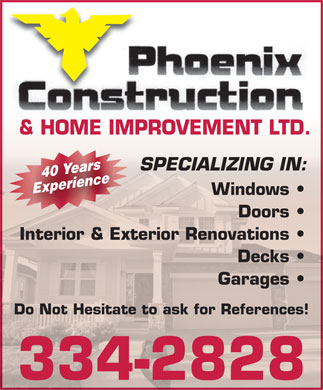 Phoenix Construction And Home Improvement Ltd (709-334-2828) - Annonce illustrée